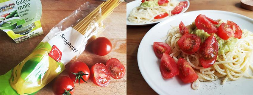 Schnelles Rezept für vegane Spaghetti mit Guacamole