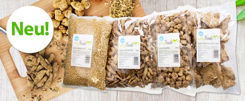 Sojaprodukte von vegiFoods: Schnetzel, Granulat, Medaillons und Würfel
