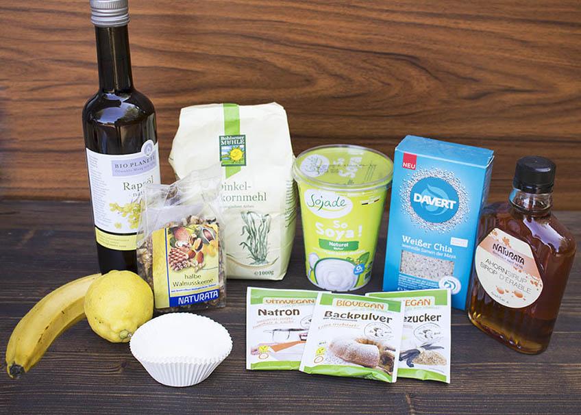 Zutaten für vegane Zitronen-Chia-Muffins