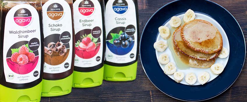 Rezept für vegane Pancakes mit Agava Sirup