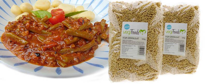Rezept: Grüne Bohnen mit Sojahack und Tomaten