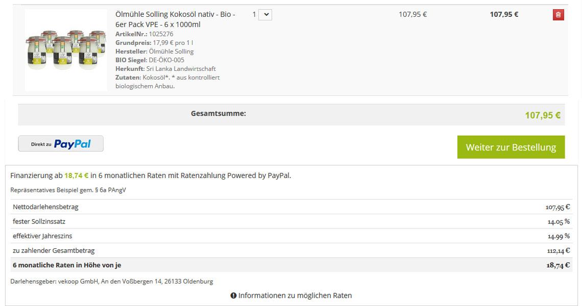 Ratenzahlung und Finanzierung auf vekoop.de